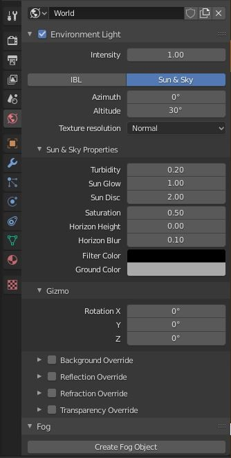 Sun & Sky tab of World Properties (in ProRender engine)