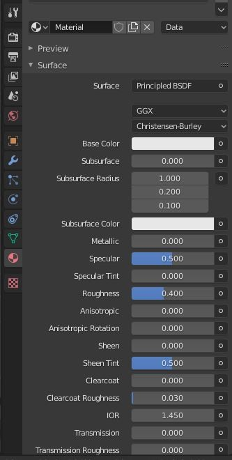 Material Properties (in Cycles engine)