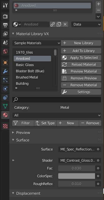 Material Library Index of Material Properties (in ProRender engine)