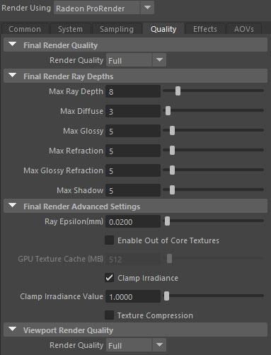 AMD Radeon ProRender Quality tab
