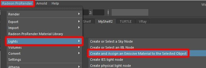 Create and Assign Emissive Material on Selected Object